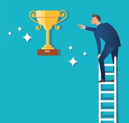 A man on ladder with trophy vector illustration Illustration