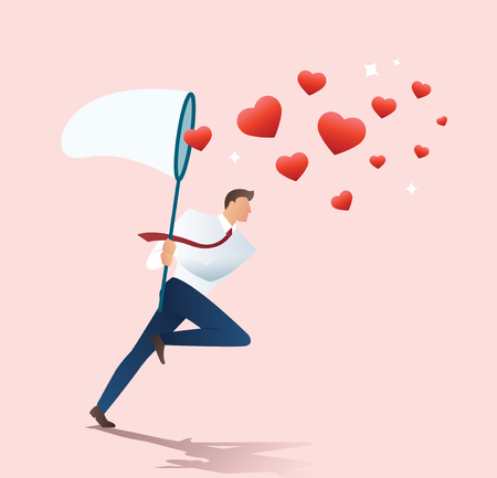 Man holding a butterfly net trying to catch heart icons vector illustration.