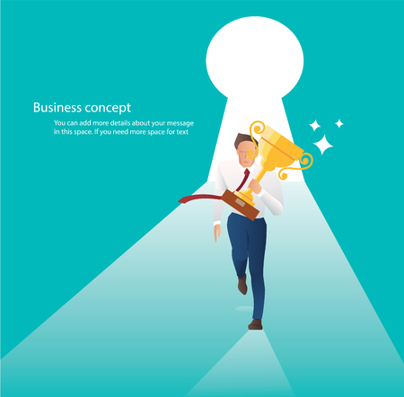 businessman holding trophy running with key hole the door to business success Stock Illustratie