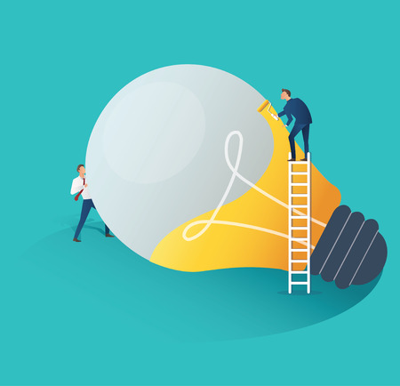 Business people cooperation idea concept with business man pushing light bulb while another is on a ladder vector illustration
