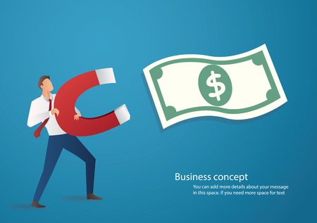 business concept. businessman attracting money icon with a large magnet vector illustration Illustration