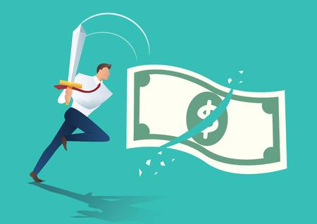 businessman holding sword and cut money bill. business concept vector illustration