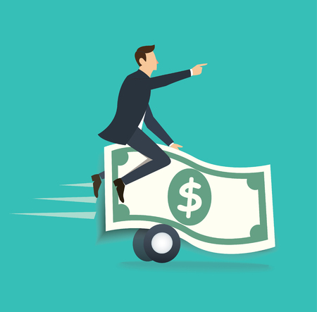 businessman ridding on money bill. business concept vector illustration