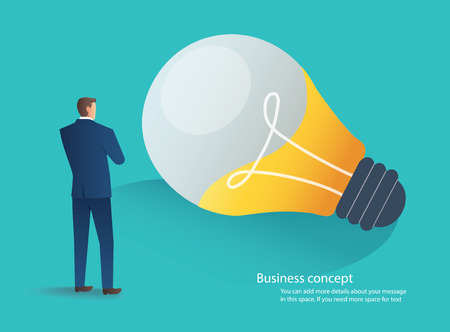businessman standing with light bulb idea concept vector illustration