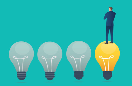 businessman standing on light bulb with blue background , creative thinking concept vector illustration Vectores