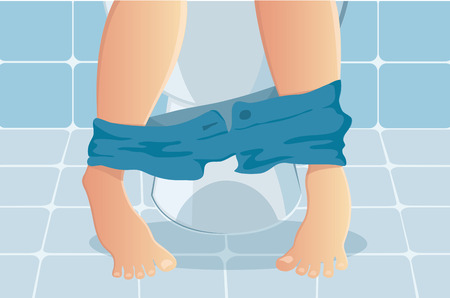 person sitting on toilet with suffering from constipated or diarrhea vector illustration Illustration