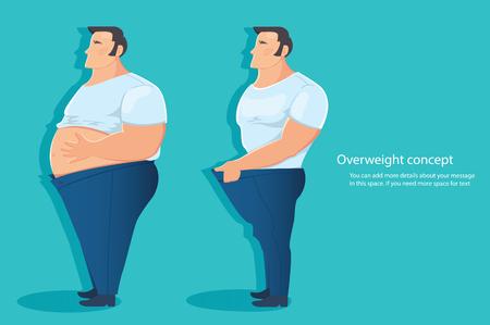 Konzept des übergewichtigen Charakters, Bauchfettvektorillustration