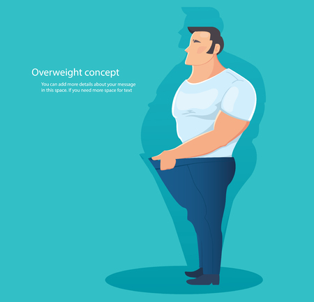 concept of overweight character , belly fat vector illustration