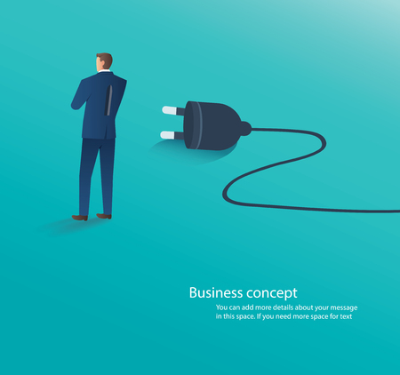 businessman standing with electrical plug , connect idea vector illustration