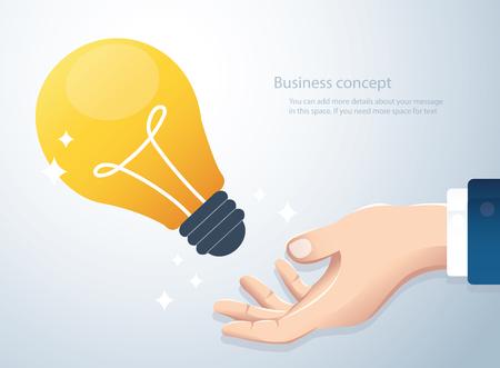Hand holding light bulb, concept of creative thinking Ilustrace
