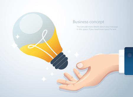 Hand holding light bulb, concept of creative thinking  イラスト・ベクター素材