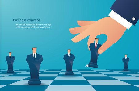 businessman play chess figure. business strategy concept vector illustration Иллюстрация