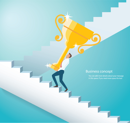 Man holding the gold trophy climbing  stairs to success Ilustrace