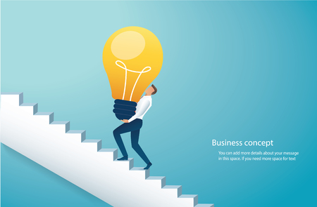 Businessman carrying light bulb climbing stairs to success