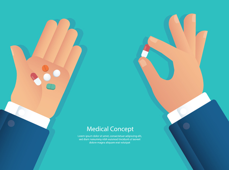 taking the pills concept of medical vector illustration eps10