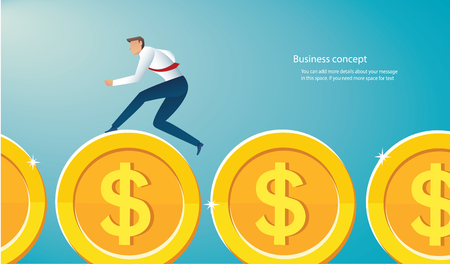 businessman running on gold coins to success vector illustration Illustration