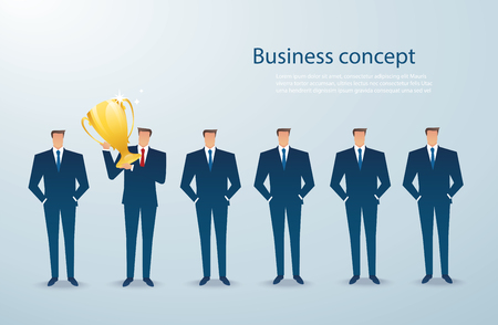 businessman hold the gold trophy successful winner. business concept vector illustration