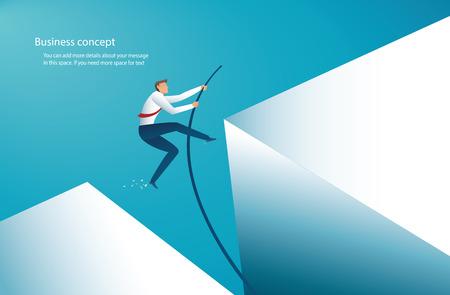 zakenman springen met polsstokhoogspringen om het doel te bereiken. vector illustratie