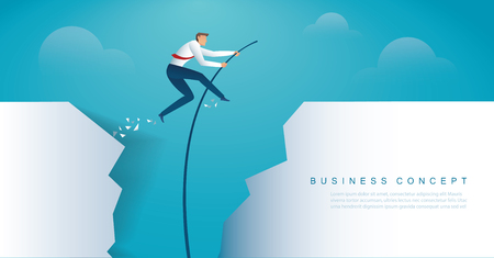 businessman jumping with pole vault to reach the target. vector illustration Vektorové ilustrace