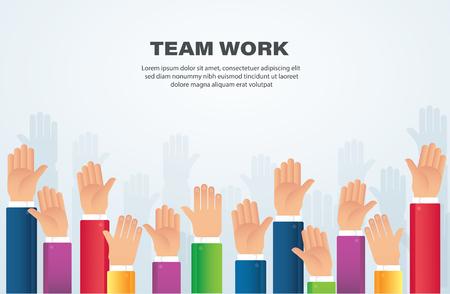 Raised hands. team work concept. background vector illustration eps10 Ilustração