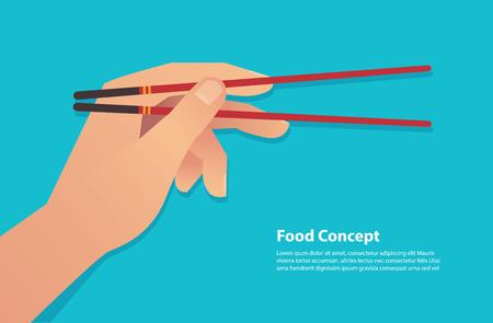 hand holding chopsticks vector illustration eps10