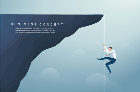 businessman climbed the mountain.  business concept of win and success