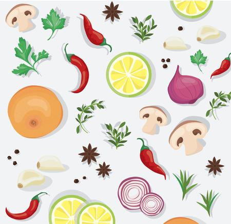 Gewürze und pflanzliche Lebensmittel