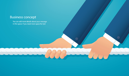 Businessman pull the rope business concept. Illustration