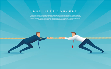Businessmen pull the rope business concept. Ilustração