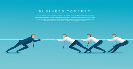Businessmen pull the rope business concept. tug of war