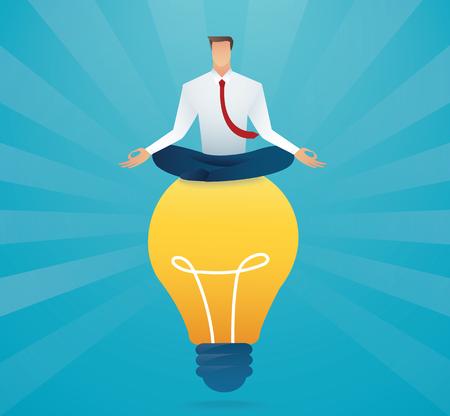 Businessmen sitting on light bulb creative concept.
