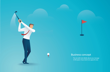 Businessman playing golf Ilustração