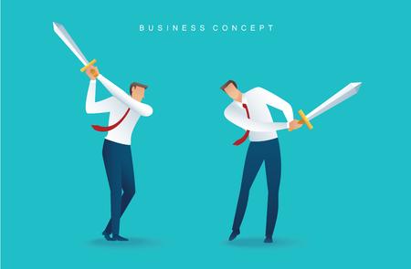 Businessman character holding sword Ilustração