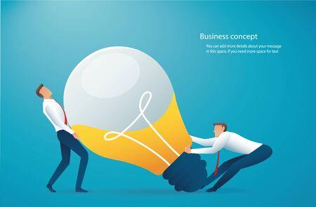 Two businessman push light bulb. creative concept