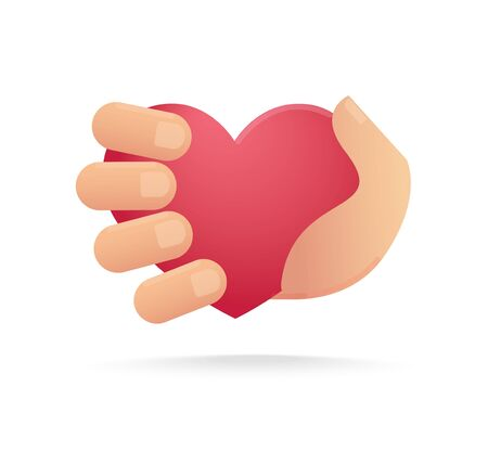 Hand holding heart icon. concept of love
