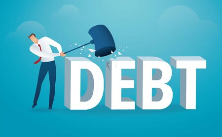 Man destroying the word debt with a hammer.