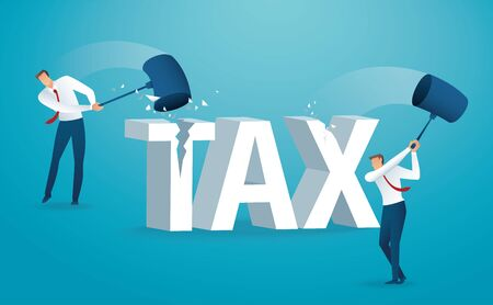 Man destroying the word tax with a hammer.