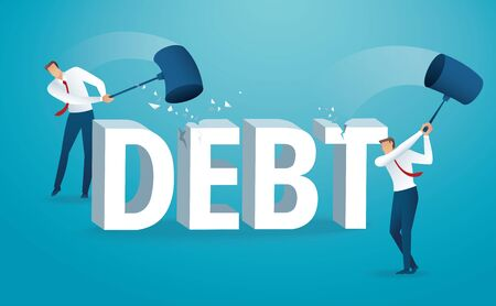 Man destroying the word debt with a hammer