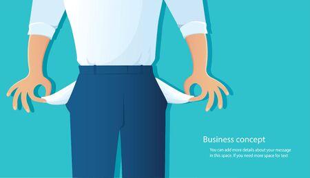 Armer Mann, der seine leeren Taschen auf blauer Hintergrundvektorillustration zeigt Vektorgrafik