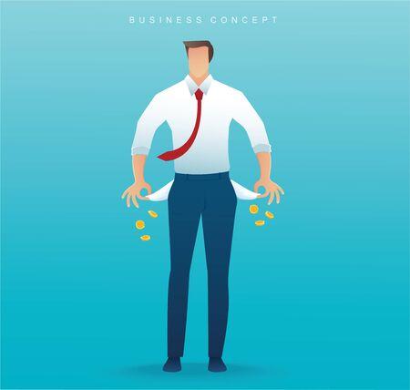 poor man showing his empty pockets on blue background vector illustration Ilustração