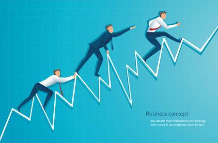 businessman runs on graph, the employee running up to the top of arrow, Success, achievement, motivation business symbol vector illustration Ilustração