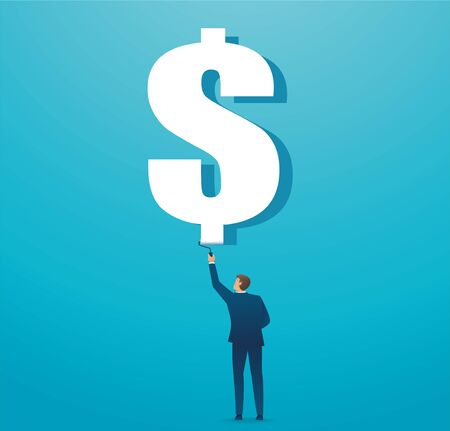 man painted dollar icon business concept. vector illustration