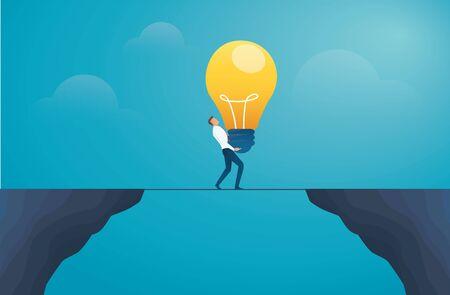 businessman holding lightbulb and cross the mountain. creative concept vector illustration EPS10
