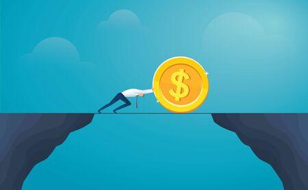 businessman push coin dollar cross the mountain. vector illustration EPS10