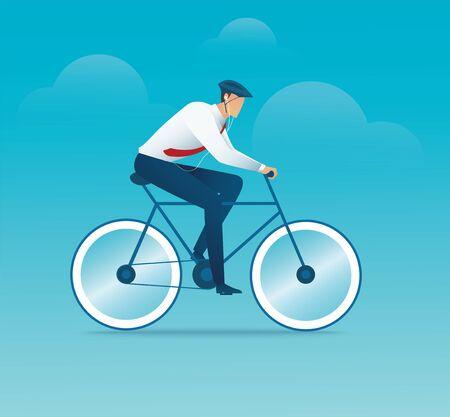 character of man  bike a bicycle vector illustration Ilustração
