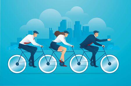 People biking bicycle business team work concept vector illustration Ilustração