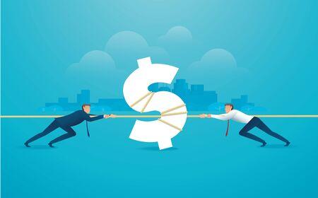 Geschäftsleute ziehen das Seil mit Geldikonengeschäftskonzept. Vektorgrafik
