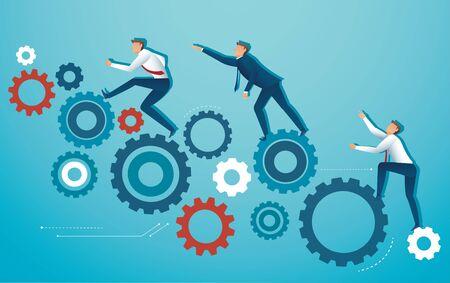Business people climbing gear cogs wheel