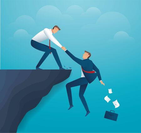 Man holding partner hands hanging cliff help concept together