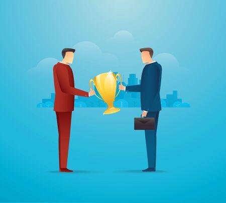 Two businessmen holding trophy together